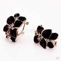 2x Pair Elegant Rose Gold Earring With Leaves Design and Crystal Rhinestones Photo