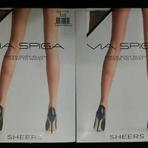 2x Pantyhose Sheer Body Blush Womens Tights via Spiga to Waist Bronze B M/l New Photo