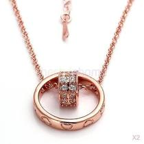 2x Rose Gold Color Chain Necklace With Ring and Heart Pendant for Your Lover Photo