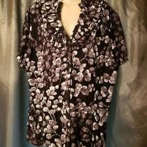 2x Style & Co. Button-Up Blouse Multi-Color Cap Sleeve Nylon Geometric Plus Photo
