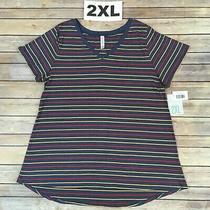 2xl Christy Tee Lularoe Red & Yellow Stripes on Blue v-Neck T-Shirt Size 22-24 Photo