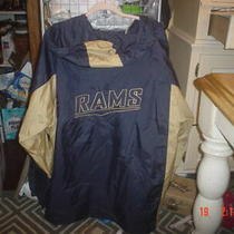 2xl  Mens Nfl Reebok St Louis Rams Wind Breaker Jacket Hoodie Blue Gold  Photo