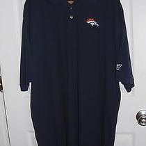 2xl Navy Blue Reebok Denver Broncos Polo Golf Collar Shirt Embroidered Photo