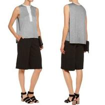3.1 Philip Lim Draped Modal-Blend Top Grey White Womens Size Small Collared Photo