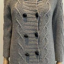 3.1 Philip Lim Grey Double-Breasted Cable-Knit Cashmere Blend  Cardigan Sz L Photo