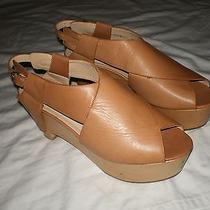 3.1 Philip Lim Italy British Tan Leather Wooden Heel Wedge Clogs Shoes 40 10 Us Photo
