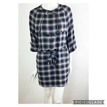 3.1 Philip Lim Womens Size 0 Blue Plaid Military Belted Shift Dress Mini Zipper Photo