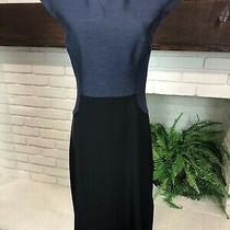 3.1 Phillip Lim Dress Cap Sleeve Black Silk and Denim Size 4 Small Knee Length Photo
