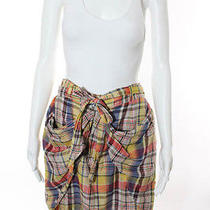 3.1 Phillip Lim Multicolored Cotton Silk Plaid Print Tie Waist Draped Skirt Sz 4 Photo