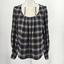 3.1 Phillip Lim Top Long Sleeve Plaid Blouse Pleated Gold Buttons Size 2  Photo