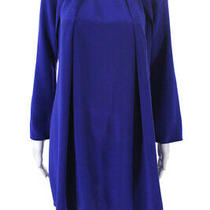 3.1 Phillip Lim Womens Beaded Neck Pleated Mini Shift Dress Blue Silk Size 0 Photo