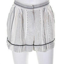 3.1 Phillip Lim Womens High Rise Pleated Front Pajama Style Shorts White Size 10 Photo
