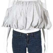 3.1 Phillip Lim Womens Striped Off the Shoulder Blouse Grey White Cotton Size 10 Photo