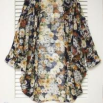 3/4 Navy Floral Print Dolman Silk Open Cardigan S W/ Anthropologie Earrings Photo