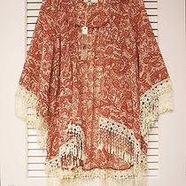 3/4 Rust Half Slev Finge Silk Open Cardigan S W/ Anthropologie Earrings Photo