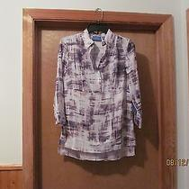 3/4 Sleeve  1/2 Button Shirt Blouse Sm Simply Vera Wang Multi Beige Brown Nwt Photo