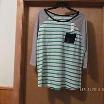3/4 Sleeve Crewneck Blouse T-Shirt Lg Gap Green Striped and Other Color Nwt Photo