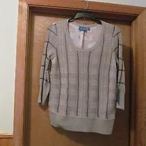 3/4 Sleeve Crewneck Sweater Blouse Lg Simply Vera Wang Beige and Other Color Nwt Photo