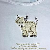 3-6m Unisex 3pc White Cotton Knit Horoscope Baby Set Taurus April 20-May 20 Nwt Photo