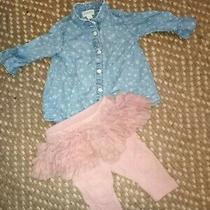 3-6mo Baby Gap Gymboree 2pc Star Shirt Pink Ruffle Leggings Outfit Girl  Photo