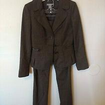 (3) Ann Taylor Brown Margo 2 Piece Suit Women's Size 0 Blazer & Trousers Photo