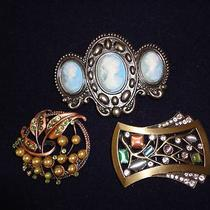 3 Assorted Fancy Metal Belt Buckles Photo