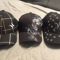 3 Black Hurley Fitted Hats - One Size Fits All Flexfit Photo