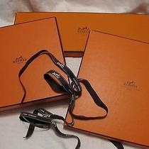 3 Hermes Authentic Gift Boxes & Ribbon in Signature Colors Logo Photo