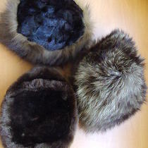 3 Lot Hats Set Pre-Owned Mint 1 Mink 1 Bon Mouton Lamb 1 Raccoon Fur Hat Women M Photo