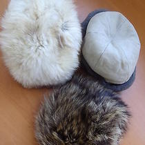 3 Lot Hats Set Pre-Owned Mint 1 Sheepskin Lamb 1 Fox 1 Raccoon Fur Hat Women L Photo