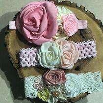 3 Newborn Lace Headband Flowers Photo Prop Baby Shower Gift Us Seller Pink Blush Photo