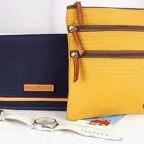 3 of Authentic Dooney & Bourke Mustard Yellow Cross-Body Blue Pouch W/ Watch Photo