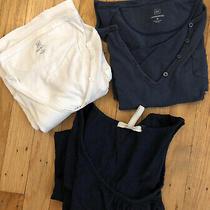 3 Old Navy Gap Maternity Shirts Elbow Length Sleeve Small Medium White Blue Photo