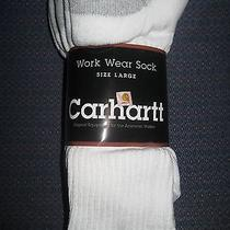 3 Pack Mens Carhartt Work Wear Crew Socks White Shoe Size 9-12 Cotton/nylon New  Photo