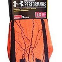 3 Pack Mens Under Armour Ignite Bolt Crew Socks (Large (Mens 9 - 12.5)  Orange/b Photo