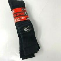 3 Pair Wolverine Everyday Natural Cotton Black Otc Boot Sock Large 9-13 New Photo