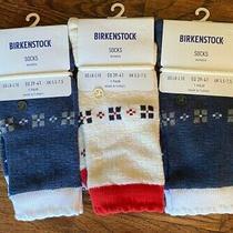 3 Pairs Birkenstock Women's Arctic Ethnic Sockssize 8-10 Cream & Blue Nwt Photo