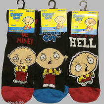 3 Pairs of Official Mens Funny Stewie Griffin Family Guy Black Socks Size 6-11  Photo