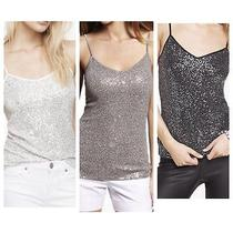 3 Pc Lot Express Sequin Camis Dress Shirts Tops White Gray Black Xsmall Xs 0 2 Photo