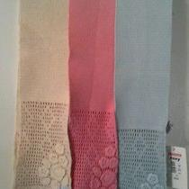 3 Roxy Crochet Scarves Blue Pink & Cream Scarf Colors 40 Each Price Tags 120 Photo