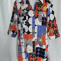3 Sisters Blouse Shirt Top Medium Floral Multi-Color Button Front 3/4 Sleeve  Photo
