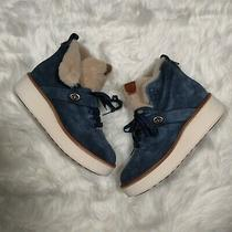 300 Coach Size 9b Urban Hiker Suede Shearling Boots Blue G1354 Rexy Charm New Photo