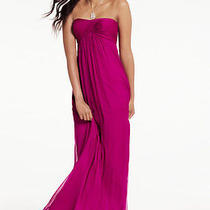 310 Amsale Strapless Chiffon Gown Cerise Wedding Prom Size 10  Photo