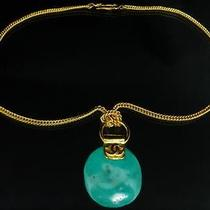 &3120 Chanel 98p Vintage Turquoise Gold Necklace Pendant Chain Coco Cc Logo Photo