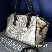 315 Nwt Brahmin Morgan Mother of Pearl Tri-Color Croco Leather Satchel J15518th Photo