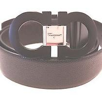 320 Salvatore Ferragamo Men's Black Double Gancini Reversible Belt Size 36 Photo
