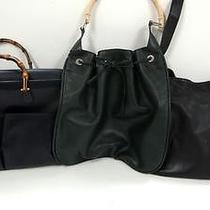 3207 Gucci Bamboo Top Handle Leather 3set Lot Black Green Shoulder Handbag Junk Photo