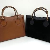 3243 Gucci Bamboo Top Handle Suede Leather 2 Set Lot Black Brown Hand Bag Junk Photo