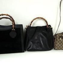 3244 Gucci Bamboo Top Handle Suede Leather Canvas 3set Lot Shoulder Handbag Junk Photo