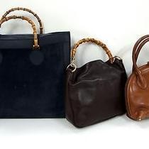 3246 Gucci Bamboo Top Handle Leather Navy Brown 3set Lot Shoulder Handbag Junk Photo